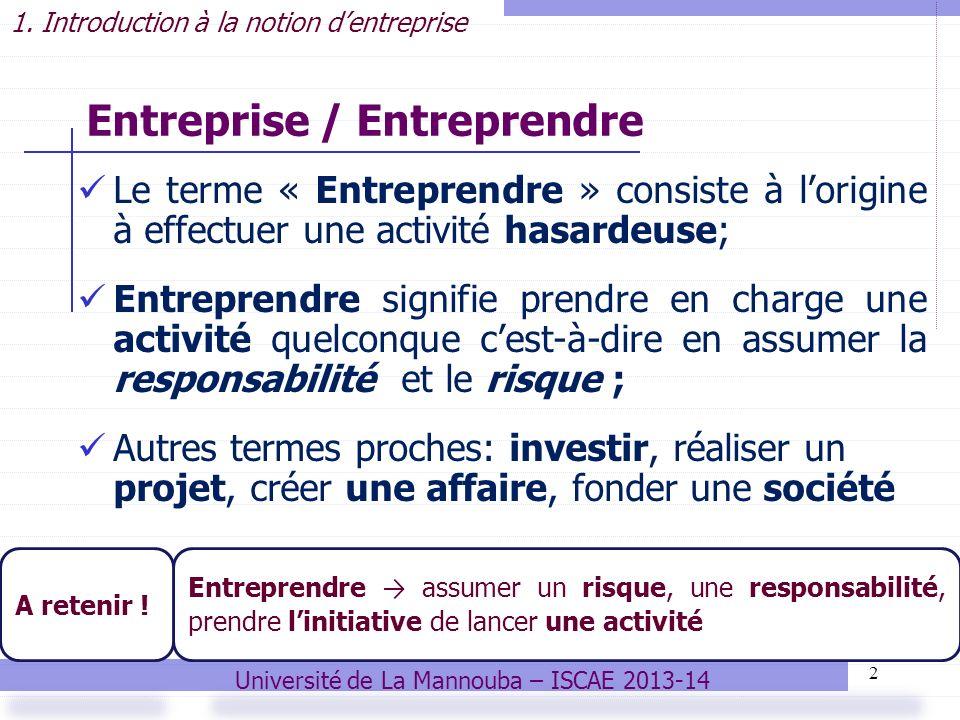 2 Entreprise / Entreprendre Le terme « Entreprendre » consiste à lorigine à effectuer une activité hasardeuse; Entreprendre signifie prendre en charge une activité quelconque cest-à-dire en assumer la responsabilité et le risque ; Autres termes proches: investir, réaliser un projet, créer une affaire, fonder une société 1.