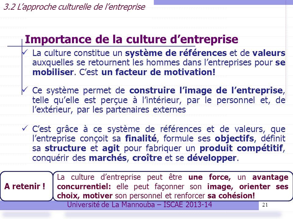 21 La culture constitue un système de références et de valeurs auxquelles se retournent les hommes dans lentreprises pour se mobiliser.