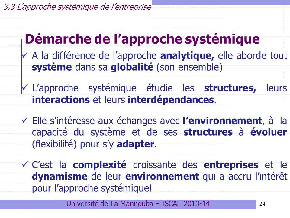 24 A la différence de lapproche analytique, elle aborde tout système dans sa globalité (son ensemble) Lapproche systémique étudie les structures, leurs interactions et leurs interdépendances.