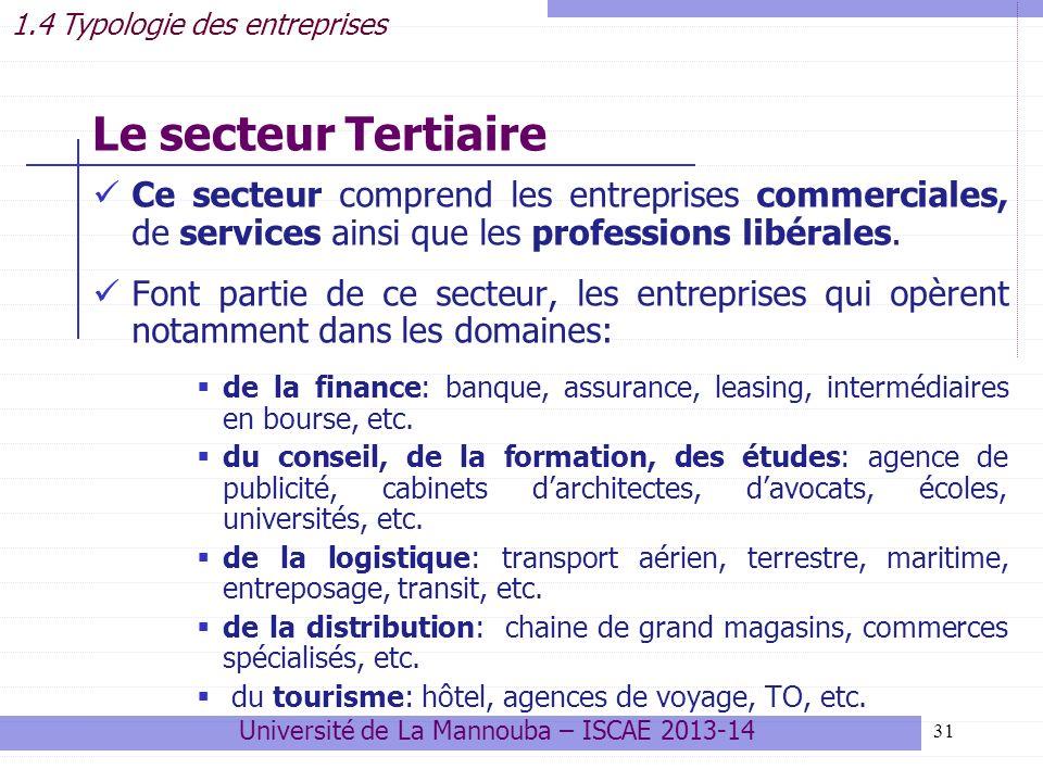 31 Ce secteur comprend les entreprises commerciales, de services ainsi que les professions libérales.