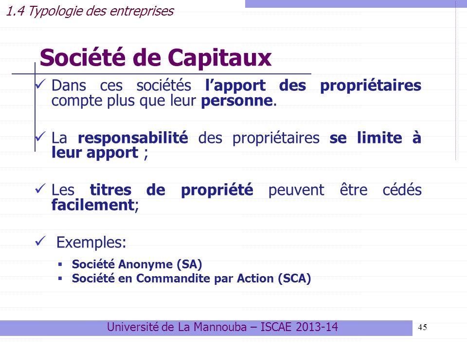 45 Société de Capitaux Dans ces sociétés lapport des propriétaires compte plus que leur personne.