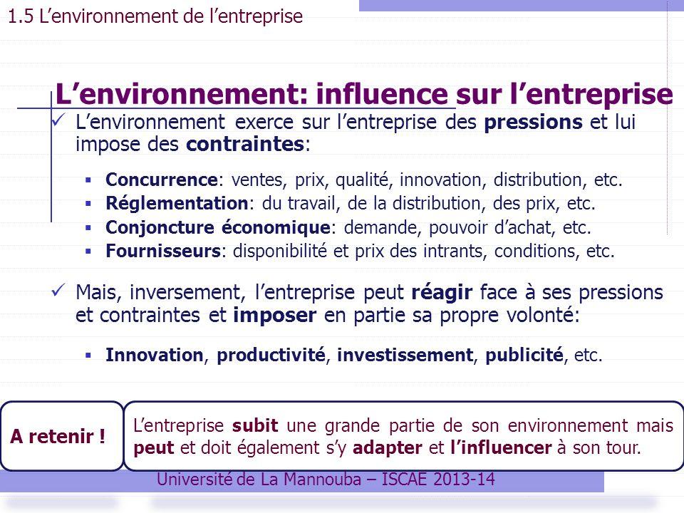 Lenvironnement: influence sur lentreprise Lenvironnement exerce sur lentreprise des pressions et lui impose des contraintes: Concurrence: ventes, prix, qualité, innovation, distribution, etc.