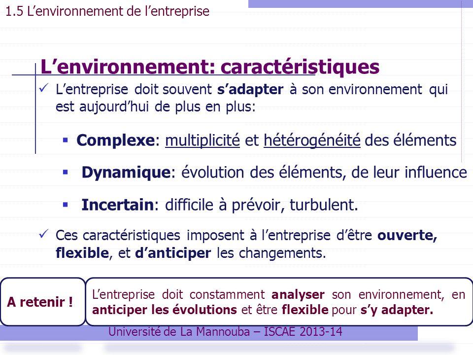 Lentreprise doit souvent sadapter à son environnement qui est aujourdhui de plus en plus: Complexe: multiplicité et hétérogénéité des éléments Dynamique: évolution des éléments, de leur influence Incertain: difficile à prévoir, turbulent.