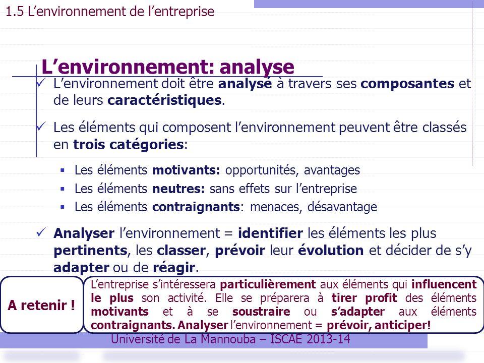 Lenvironnement doit être analysé à travers ses composantes et de leurs caractéristiques.