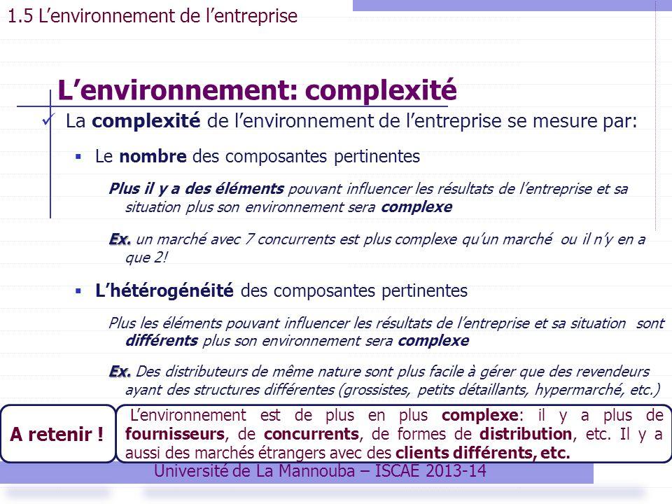 La complexité de lenvironnement de lentreprise se mesure par: Le nombre des composantes pertinentes Plus il y a des éléments pouvant influencer les résultats de lentreprise et sa situation plus son environnement sera complexe Ex.
