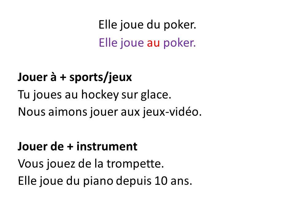 Elle joue du poker. Elle joue au poker. Jouer à + sports/jeux Tu joues au hockey sur glace. Nous aimons jouer aux jeux-vidéo. Jouer de + instrument Vo
