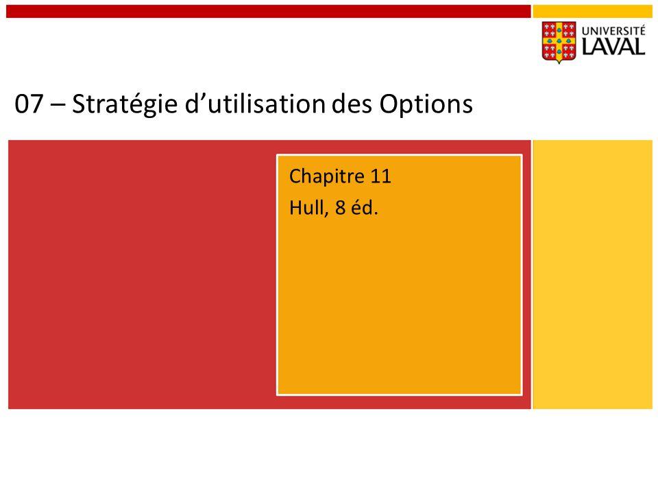 07 – Stratégie dutilisation des Options Chapitre 11 Hull, 8 éd.