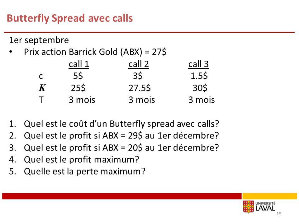 1er septembre Prix action Barrick Gold (ABX) = 27$ call 1call 2call 3 c 5$ 3$ 1.5$ K 25$27.5$ 30$ T3 mois3 mois3 mois 1.Quel est le coût dun Butterfly spread avec calls.