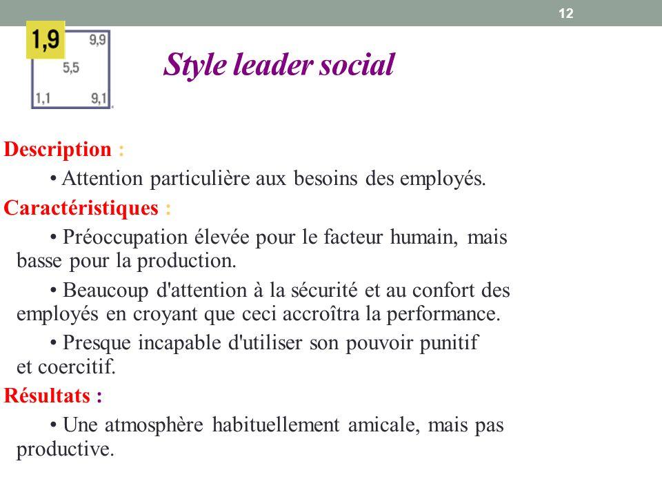 12 Style leader social Description : Attention particulière aux besoins des employés.