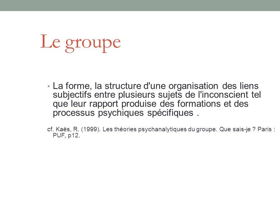 Le groupe La forme, la structure d une organisation des liens subjectifs entre plusieurs sujets de l inconscient tel que leur rapport produise des formations et des processus psychiques spécifiques.