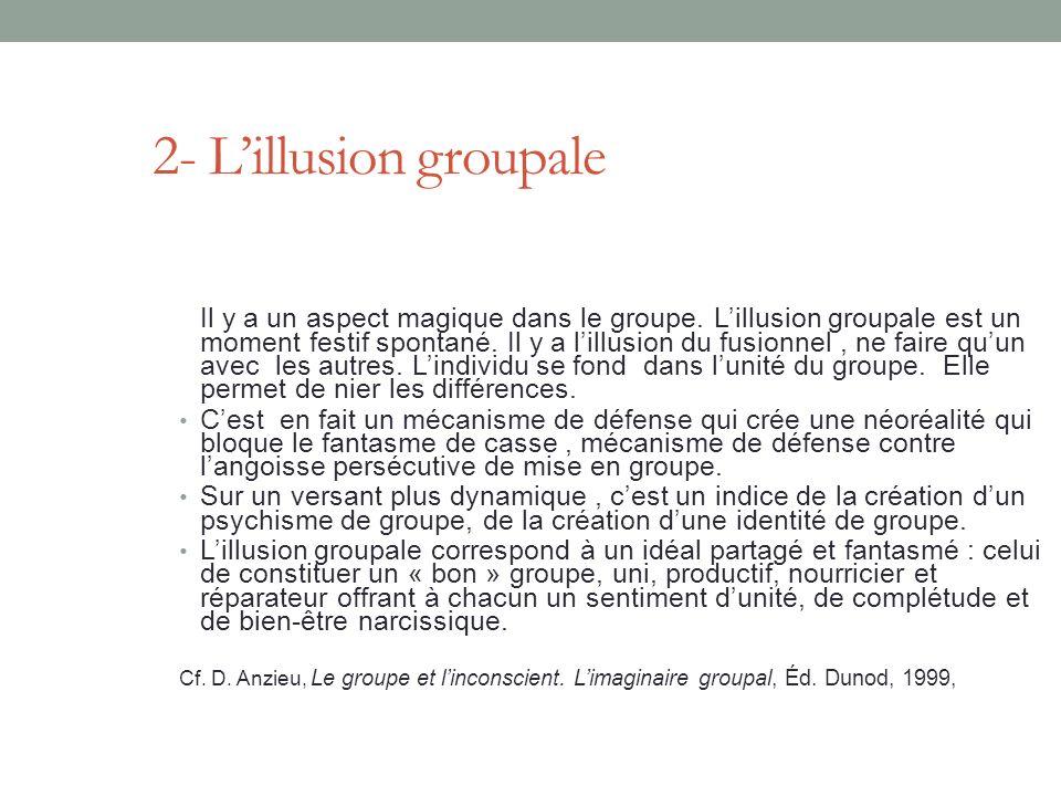 2- Lillusion groupale Il y a un aspect magique dans le groupe.