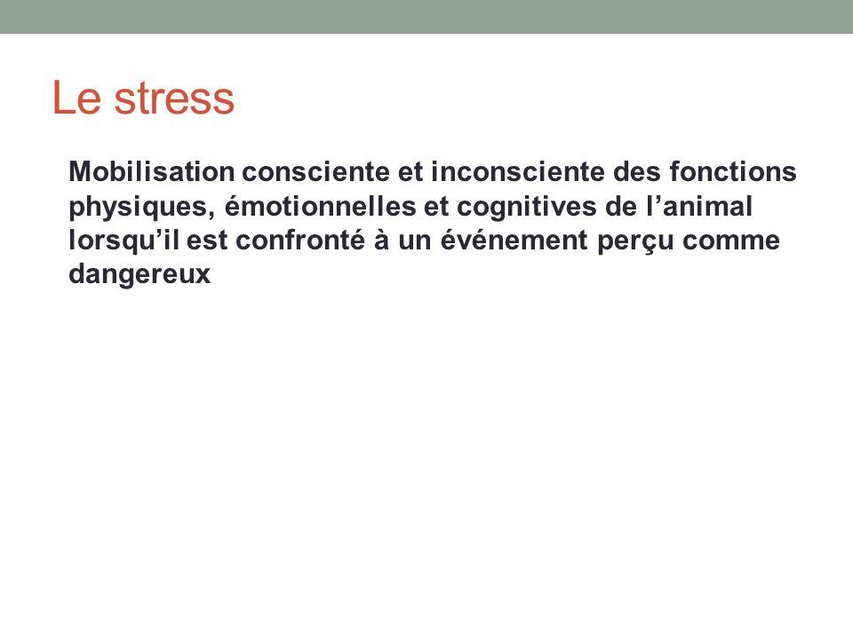 Le stress Mobilisation consciente et inconsciente des fonctions physiques, émotionnelles et cognitives de lanimal lorsquil est confronté à un événement perçu comme dangereux