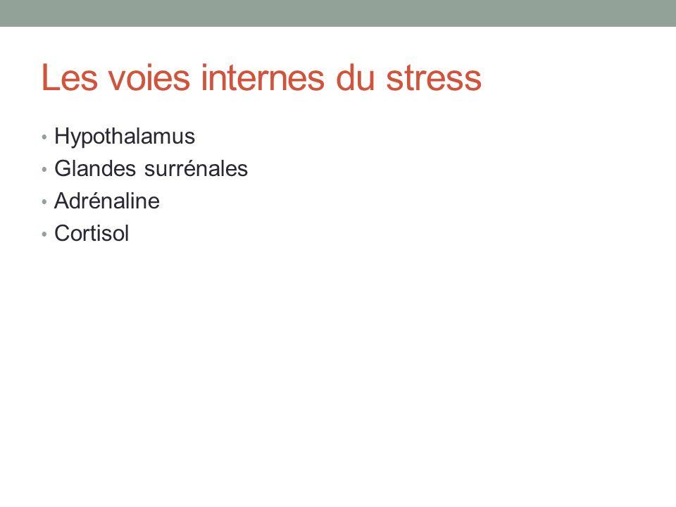 Les voies internes du stress Hypothalamus Glandes surrénales Adrénaline Cortisol