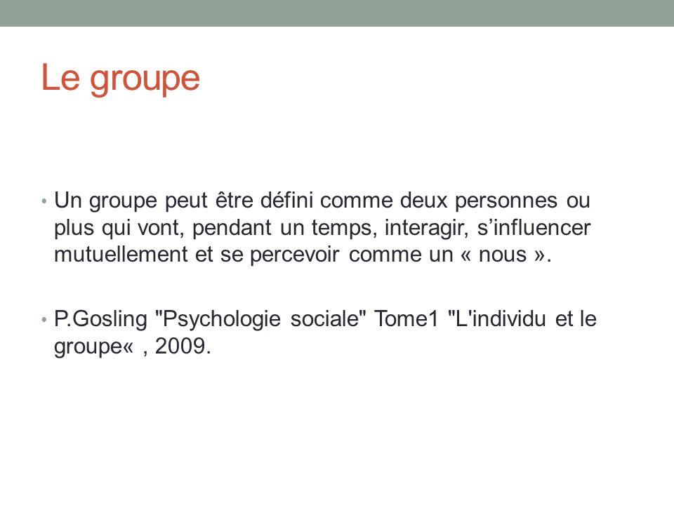 Le groupe Un groupe peut être défini comme deux personnes ou plus qui vont, pendant un temps, interagir, sinfluencer mutuellement et se percevoir comme un « nous ».