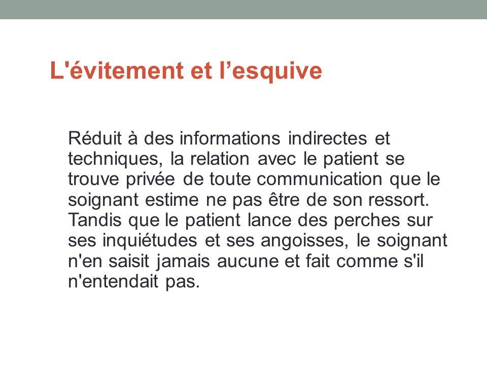 L évitement et lesquive Réduit à des informations indirectes et techniques, la relation avec le patient se trouve privée de toute communication que le soignant estime ne pas être de son ressort.
