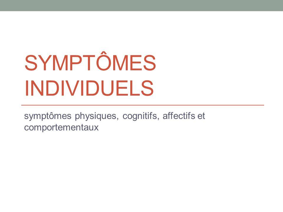 SYMPTÔMES INDIVIDUELS symptômes physiques, cognitifs, affectifs et comportementaux