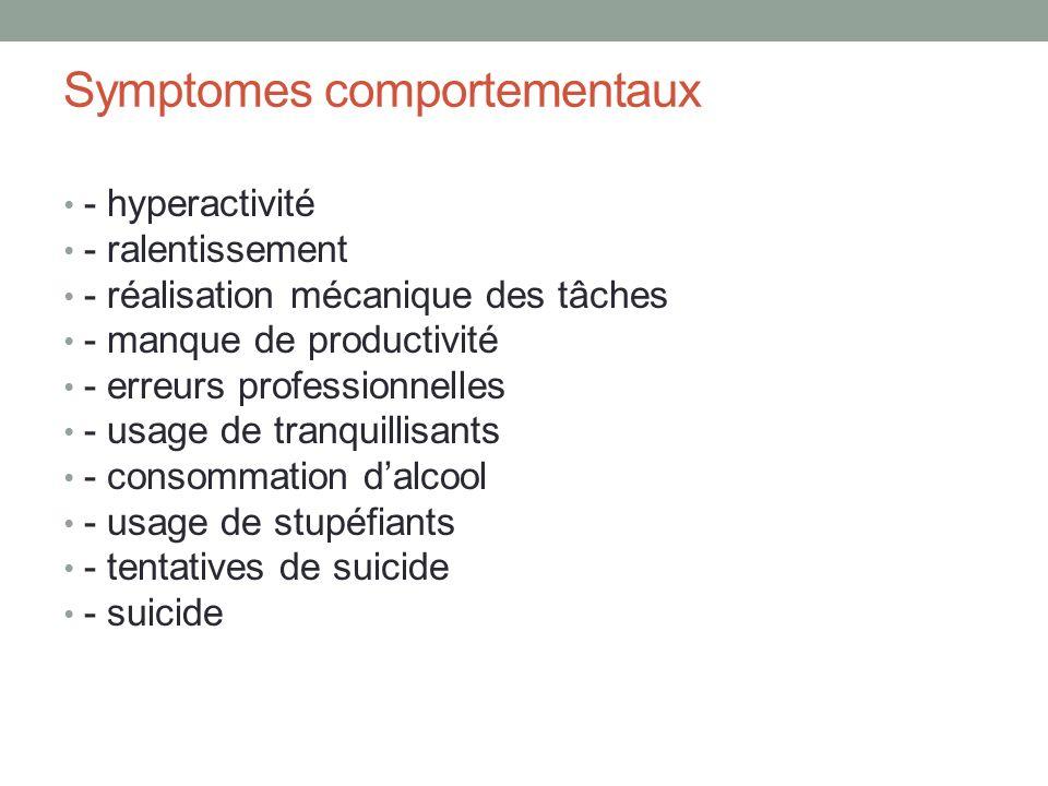 Symptomes comportementaux - hyperactivité - ralentissement - réalisation mécanique des tâches - manque de productivité - erreurs professionnelles - usage de tranquillisants - consommation dalcool - usage de stupéfiants - tentatives de suicide - suicide