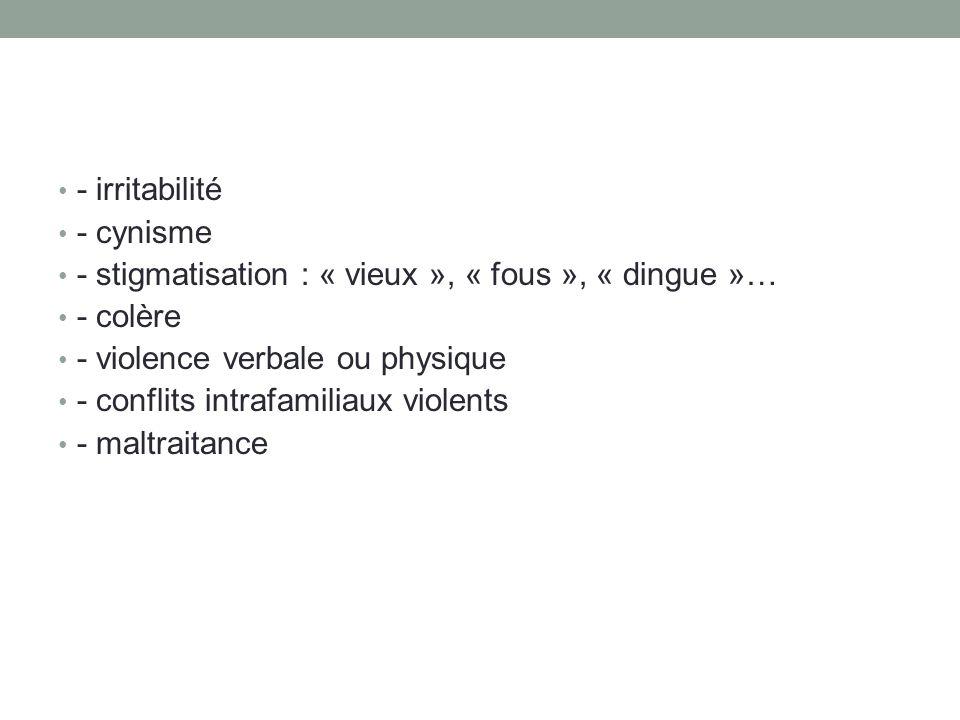 - irritabilité - cynisme - stigmatisation : « vieux », « fous », « dingue »… - colère - violence verbale ou physique - conflits intrafamiliaux violents - maltraitance