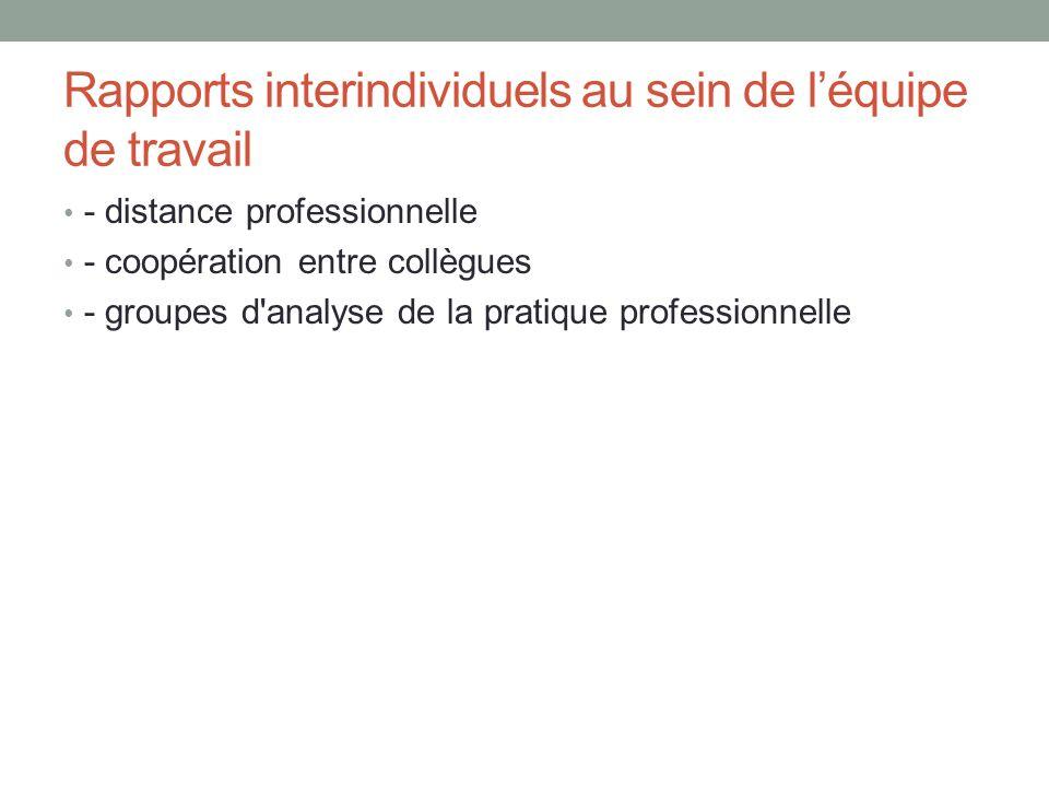 Rapports interindividuels au sein de léquipe de travail - distance professionnelle - coopération entre collègues - groupes d analyse de la pratique professionnelle