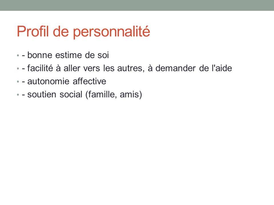 Profil de personnalité - bonne estime de soi - facilité à aller vers les autres, à demander de l aide - autonomie affective - soutien social (famille, amis)