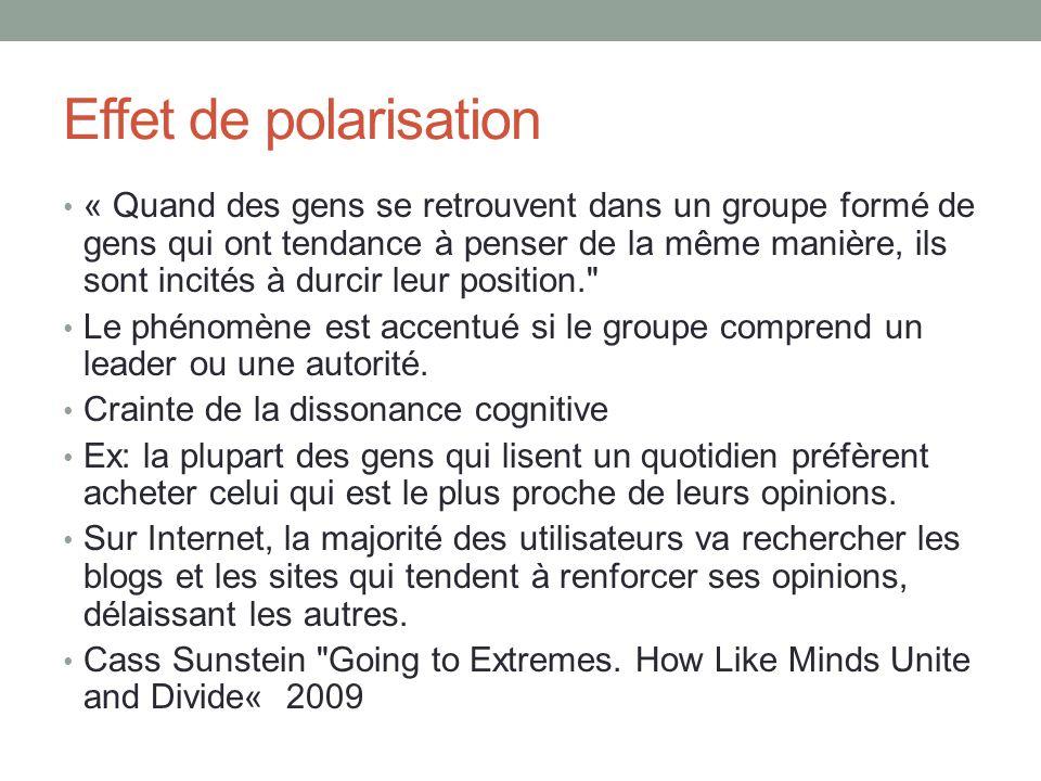 Effet de polarisation « Quand des gens se retrouvent dans un groupe formé de gens qui ont tendance à penser de la même manière, ils sont incités à durcir leur position. Le phénomène est accentué si le groupe comprend un leader ou une autorité.