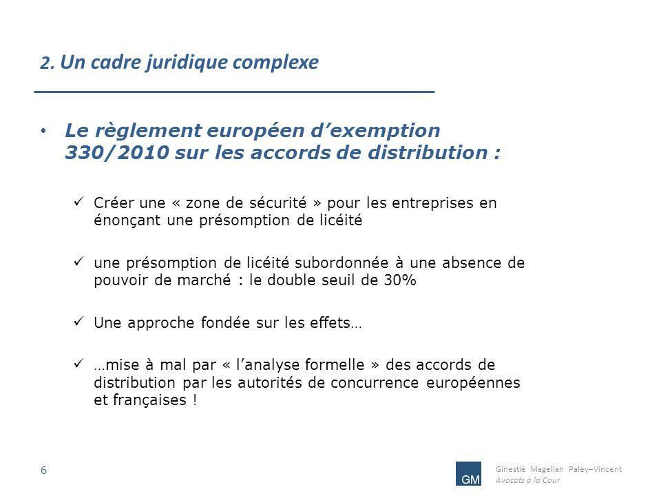 Ginestié Magellan Paley–Vincent Avocats à la Cour 2. Un cadre juridique complexe 6 Le règlement européen dexemption 330/2010 sur les accords de distri
