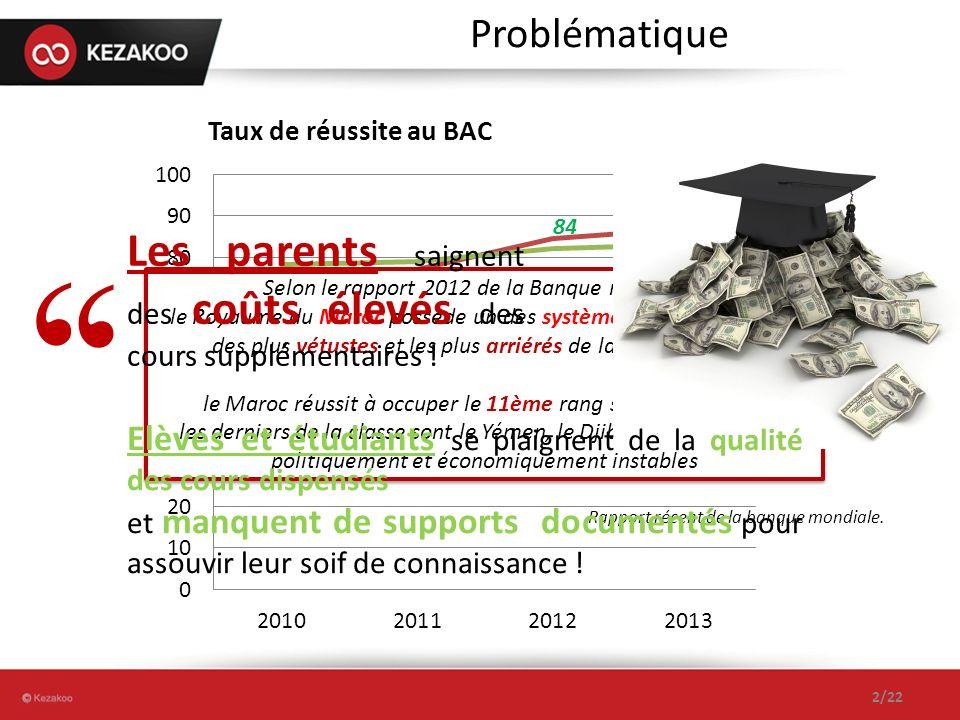Problématique Selon le rapport 2012 de la Banque mondiale, le Royaume du Maroc possède un des systèmes d enseignement des plus vétustes et les plus arriérés de la région MENA.