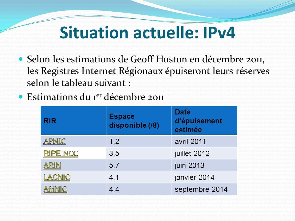 Situation actuelle: IPv4 Selon les estimations de Geoff Huston en décembre 2011, les Registres Internet Régionaux épuiseront leurs réserves selon le t