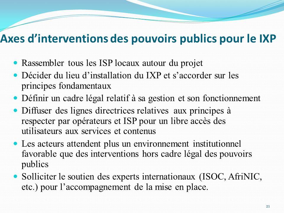 Axes dinterventions des pouvoirs publics pour le IXP Rassembler tous les ISP locaux autour du projet Décider du lieu dinstallation du IXP et saccorder