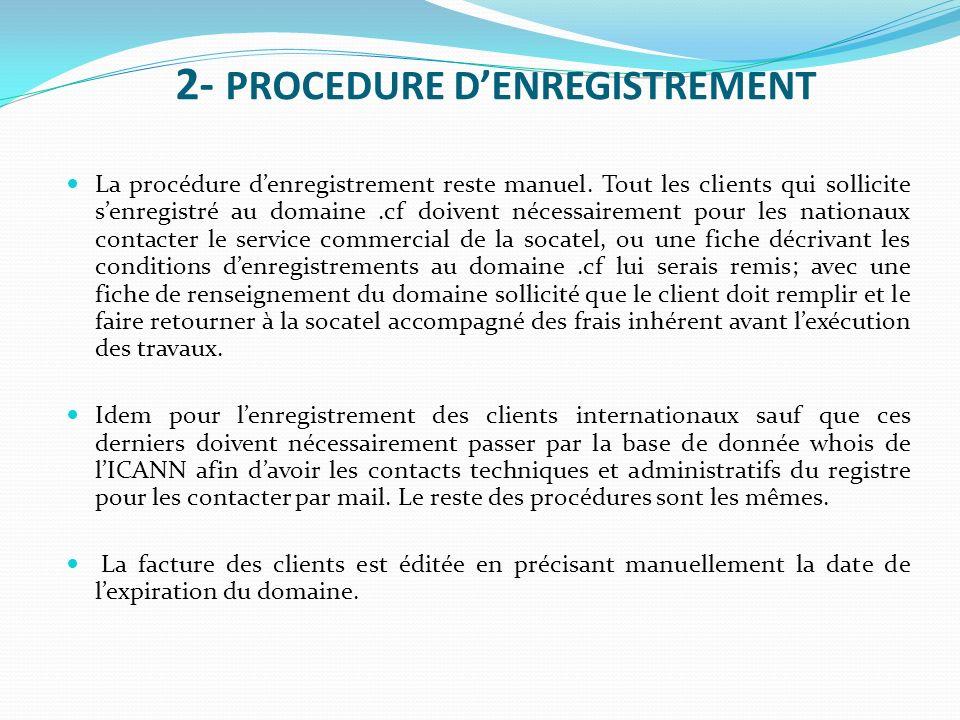 2- PROCEDURE DENREGISTREMENT La procédure denregistrement reste manuel. Tout les clients qui sollicite senregistré au domaine.cf doivent nécessairemen