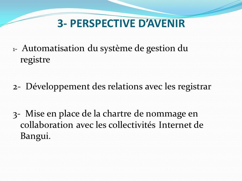 3- PERSPECTIVE DAVENIR 1- Automatisation du système de gestion du registre 2- Développement des relations avec les registrar 3- Mise en place de la ch