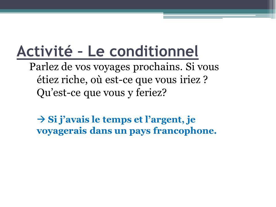 Activité – Le conditionnel Parlez de vos voyages prochains.