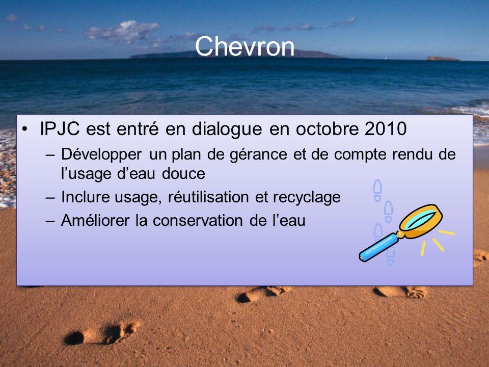 Chevron IPJC est entré en dialogue en octobre 2010 –Développer un plan de gérance et de compte rendu de lusage deau douce –Inclure usage, réutilisation et recyclage –Améliorer la conservation de leau IPJC est entré en dialogue en octobre 2010 –Développer un plan de gérance et de compte rendu de lusage deau douce –Inclure usage, réutilisation et recyclage –Améliorer la conservation de leau
