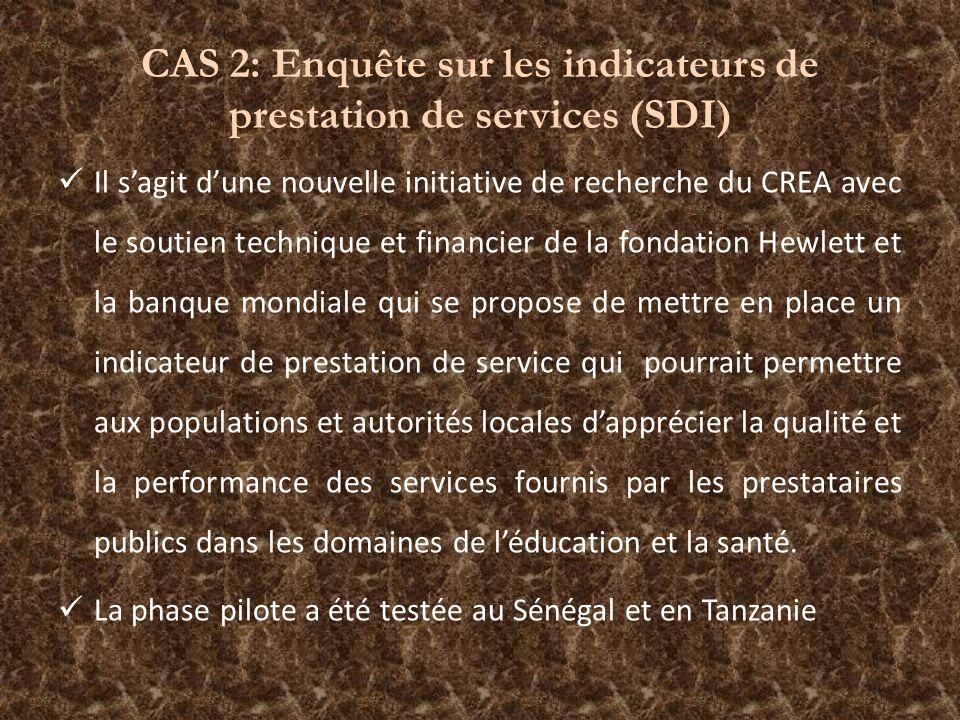 CAS 2: Enquête sur les indicateurs de prestation de services (SDI) Il sagit dune nouvelle initiative de recherche du CREA avec le soutien technique et