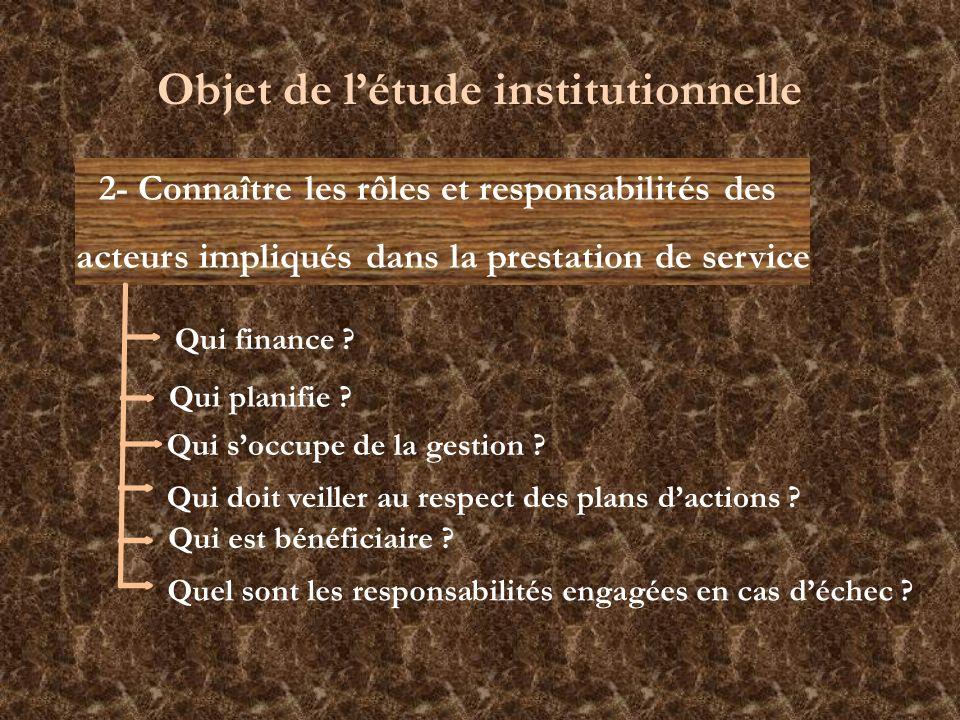 2- Connaître les rôles et responsabilités des acteurs impliqués dans la prestation de service Objet de létude institutionnelle Qui planifie ? Qui socc