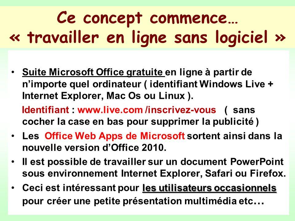 Ce concept commence… « travailler en ligne sans logiciel » Suite Microsoft Office gratuite en ligne à partir de nimporte quel ordinateur ( identifiant Windows Live + Internet Explorer, Mac Os ou Linux ).