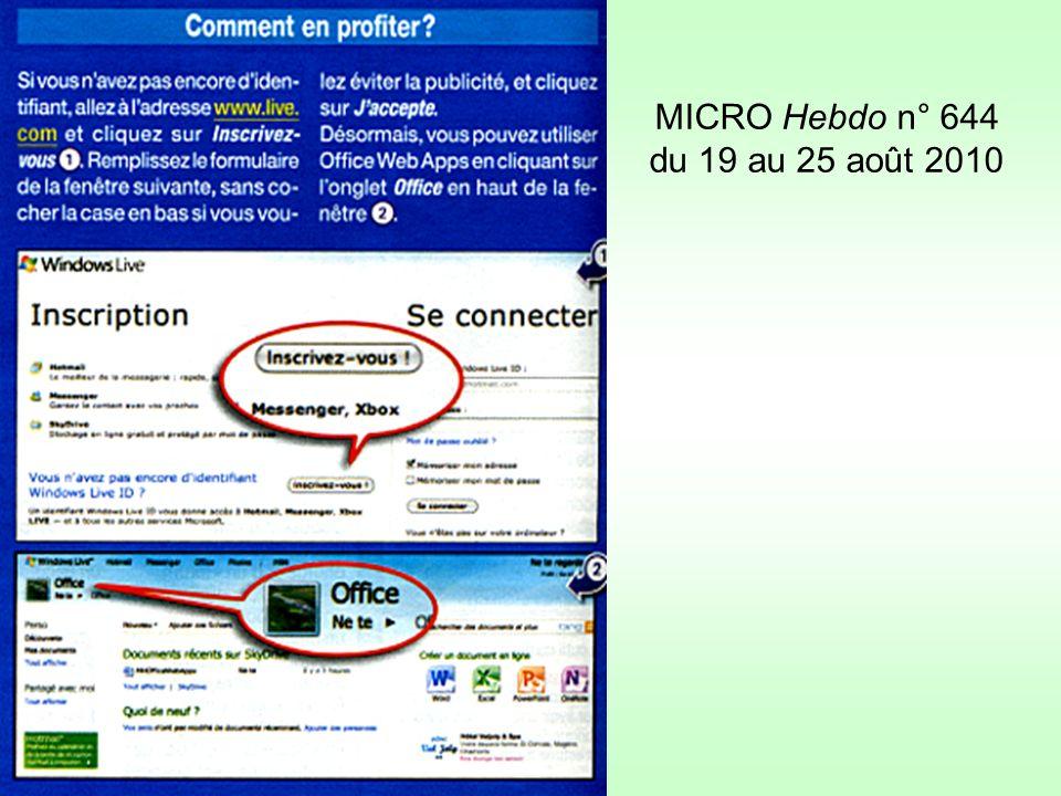 MICRO Hebdo n° 644 du 19 au 25 août 2010