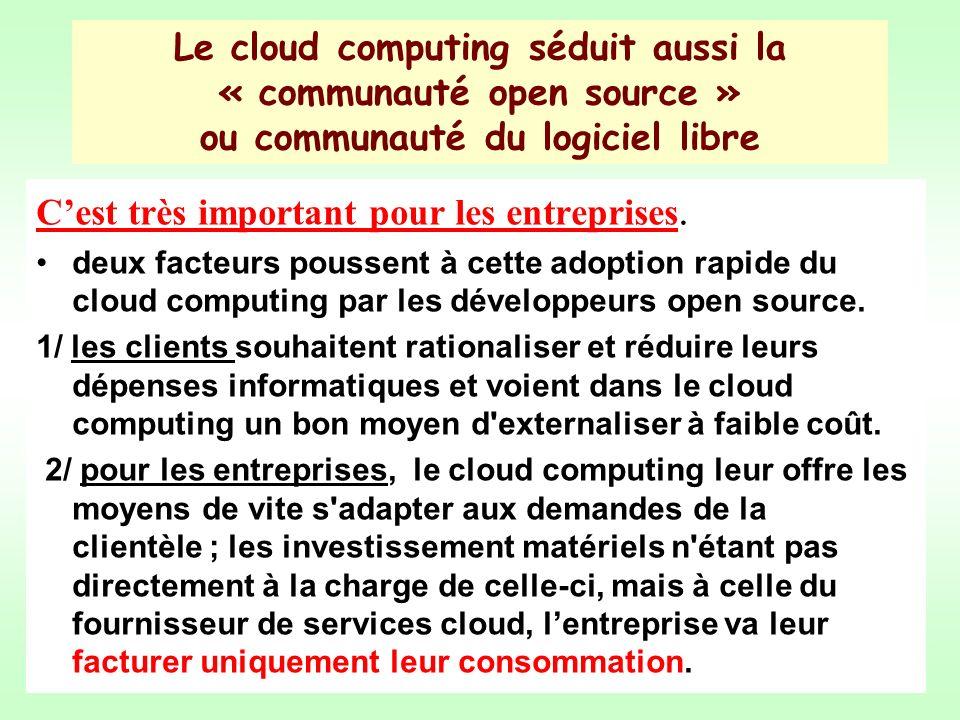 Le cloud computing séduit aussi la « communauté open source » ou communauté du logiciel libre Cest très important pour les entreprises. deux facteurs