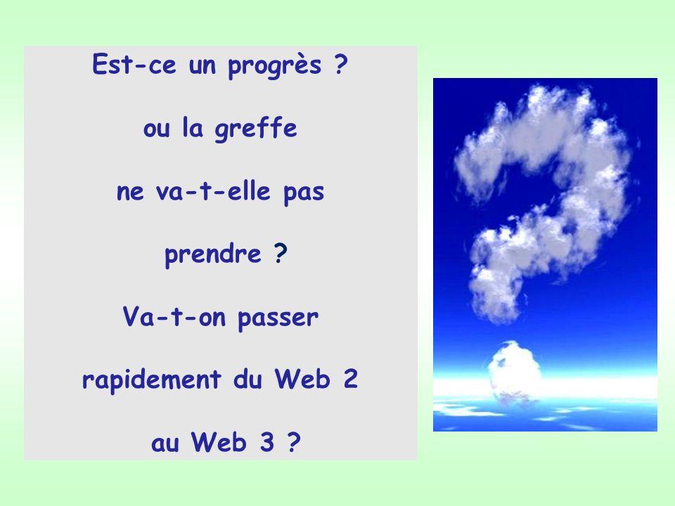 Est-ce un progrès ? ou la greffe ne va-t-elle pas prendre ? Va-t-on passer rapidement du Web 2 au Web 3 ?