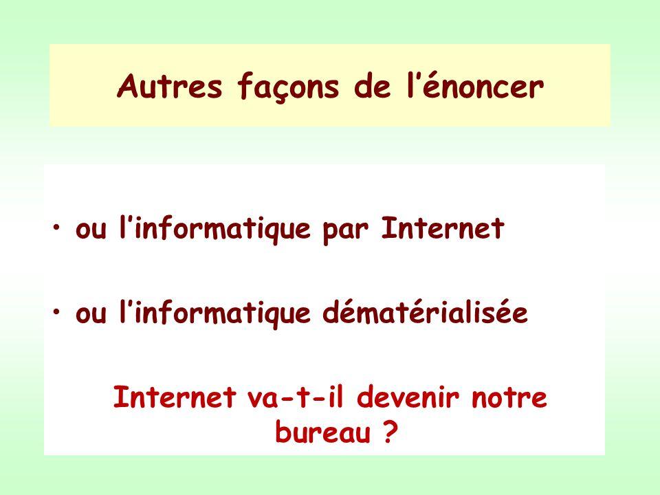 Autres façons de lénoncer ou linformatique par Internet ou linformatique dématérialisée Internet va-t-il devenir notre bureau ?