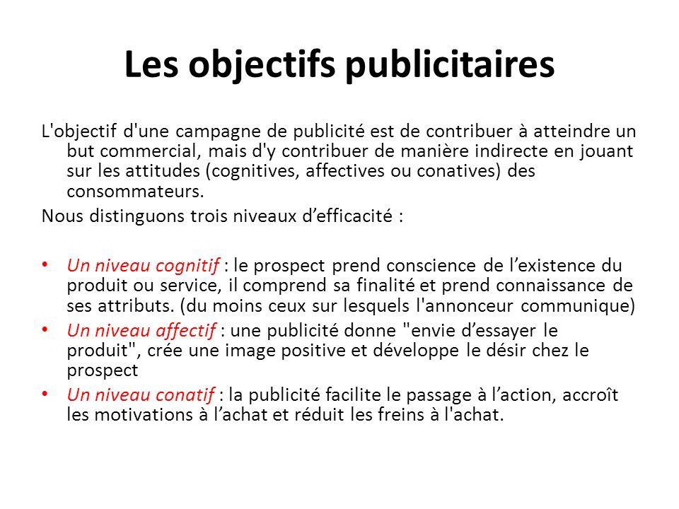 Les objectifs publicitaires L objectif d une campagne de publicité est de contribuer à atteindre un but commercial, mais d y contribuer de manière indirecte en jouant sur les attitudes (cognitives, affectives ou conatives) des consommateurs.