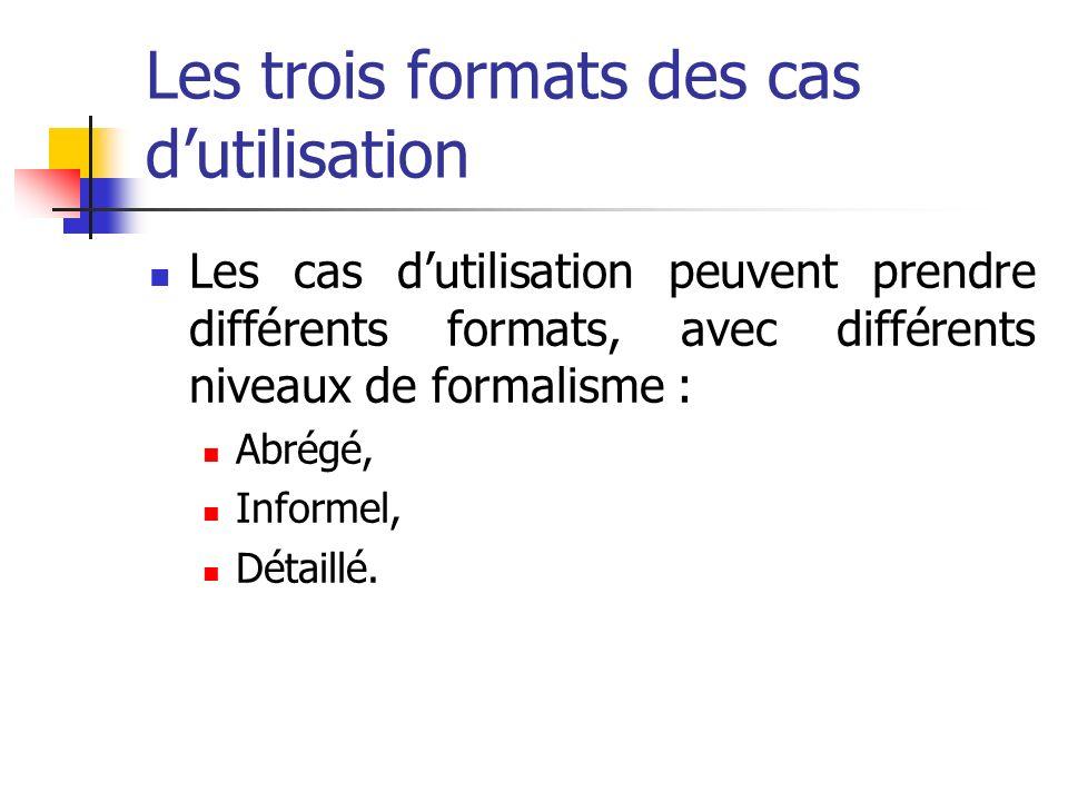 Les trois formats des cas dutilisation Les cas dutilisation peuvent prendre différents formats, avec différents niveaux de formalisme : Abrégé, Informel, Détaillé.