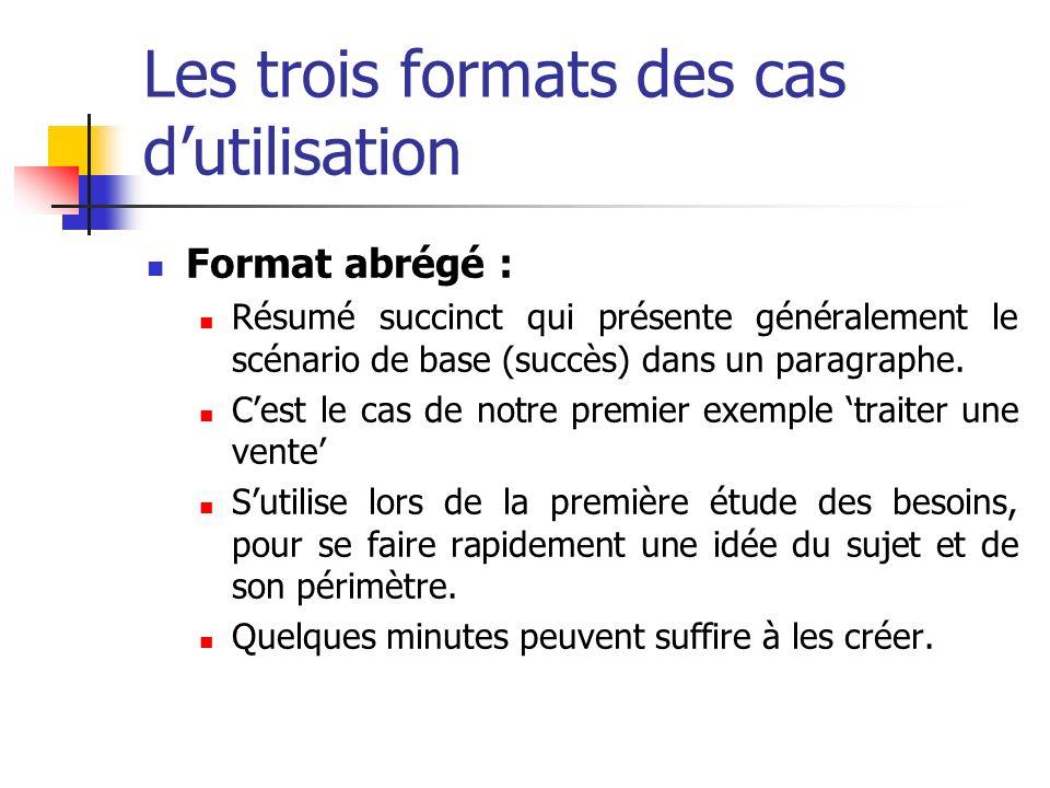 Les trois formats des cas dutilisation Format abrégé : Résumé succinct qui présente généralement le scénario de base (succès) dans un paragraphe. Cest