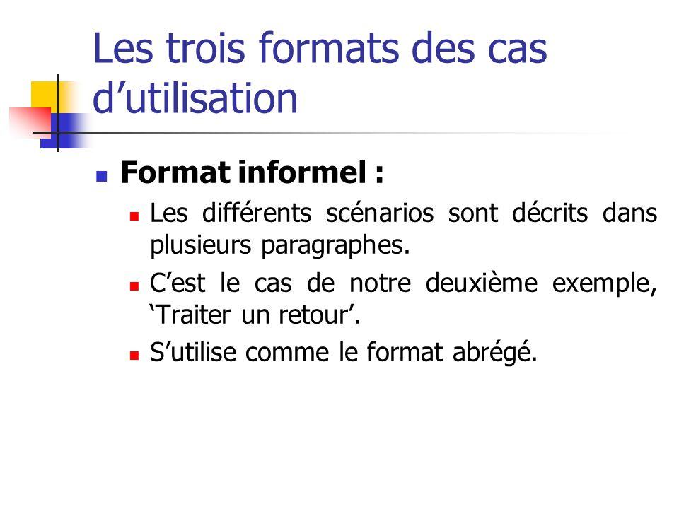 Les trois formats des cas dutilisation Format informel : Les différents scénarios sont décrits dans plusieurs paragraphes. Cest le cas de notre deuxiè