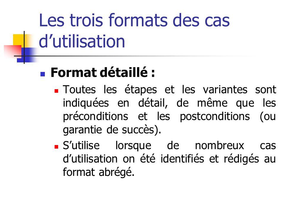 Les trois formats des cas dutilisation Format détaillé : Toutes les étapes et les variantes sont indiquées en détail, de même que les préconditions et les postconditions (ou garantie de succès).