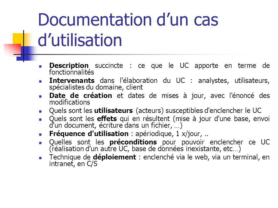 Documentation dun cas dutilisation Description succincte : ce que le UC apporte en terme de fonctionnalités Intervenants dans l élaboration du UC : analystes, utilisateurs, spécialistes du domaine, client Date de création et dates de mises à jour, avec l énoncé des modifications Quels sont les utilisateurs (acteurs) susceptibles d enclencher le UC Quels sont les effets qui en résultent (mise à jour d une base, envoi d un document, écriture dans un fichier, …) Fréquence d utilisation : apériodique, 1 x/jour,..