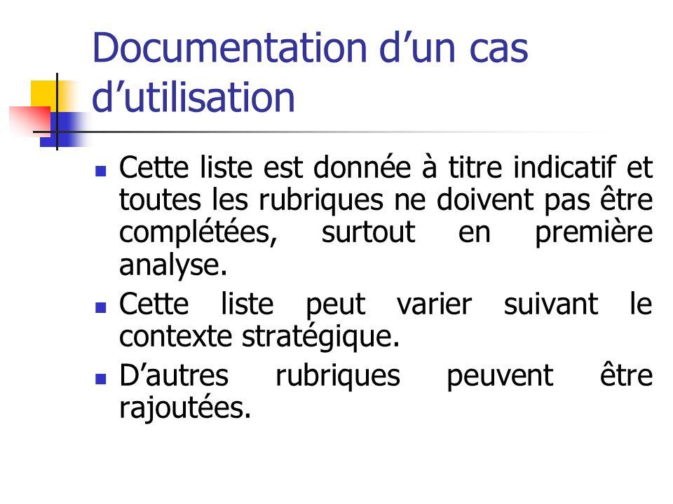 Documentation dun cas dutilisation Cette liste est donnée à titre indicatif et toutes les rubriques ne doivent pas être complétées, surtout en première analyse.