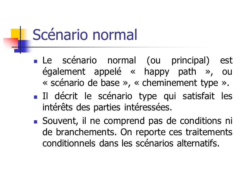 Scénario normal Le scénario normal (ou principal) est également appelé « happy path », ou « scénario de base », « cheminement type ». Il décrit le scé