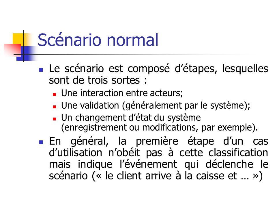 Scénario normal Le scénario est composé détapes, lesquelles sont de trois sortes : Une interaction entre acteurs; Une validation (généralement par le