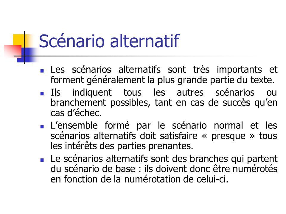 Scénario alternatif Les scénarios alternatifs sont très importants et forment généralement la plus grande partie du texte. Ils indiquent tous les autr